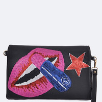 Fashion Lipstick Sequins Clutch
