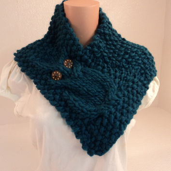 Handcrafted Cowl Wrap Owl Teal Textured 100% Merino Wool Female Adult -- New No Tags