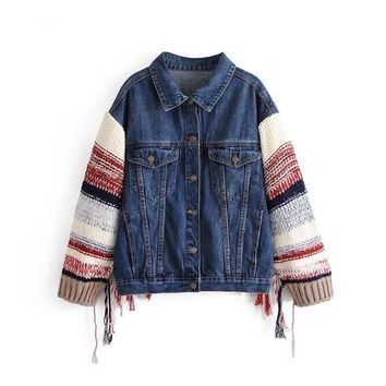 Tassled Knit Sweater Sleeve Denim Jacket