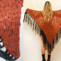 70s Burnt Orange Crochet Fringe Shawl | Hippie Boho Chic Knit Sweater or Decor Blanket Throw for the Home | Gypsy 1970s Large Triangle Wrap