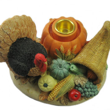 Thanksgiving Candle Holder, Turkey Candle Holder, Vintage Thanksgiving Centerpiece, Fall Cornucopia Candle Holder