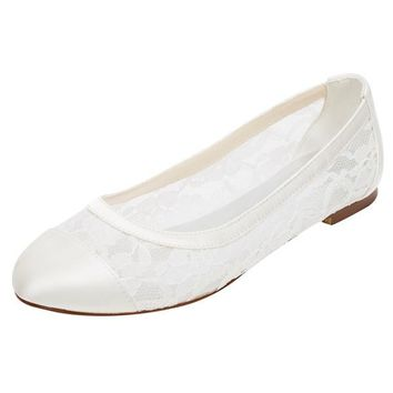 Lace Satin Flat Heel Closed Toe Simple Shoes,High Quality Wedding Shoes, L-576