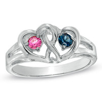 Couple's Interlocked Hearts Simulated Birthstone Ring in Sterling Silver (2 Stones) - View All Personalized Jewelry - Zales