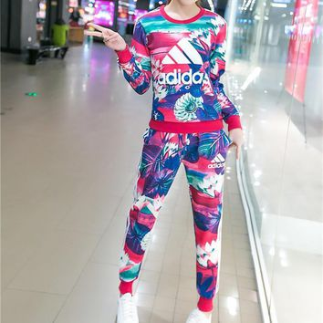 Adidas Fashion Casual Multicolor Petal Letter Print Long Sleeve Sweater Set Two-Piece Sportswear-1