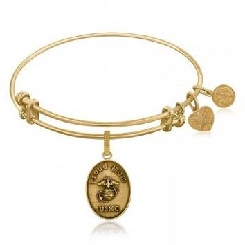 Expandable Bangle in Yellow Tone Brass with U.S. Marine Corps Proud Mom Symbol