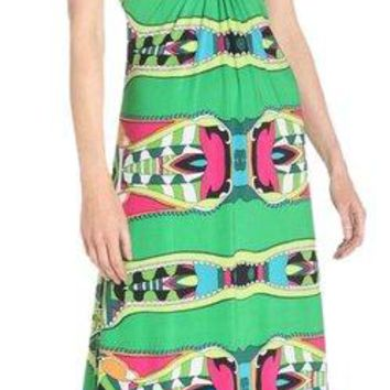 NWT T-Bags Los Angeles Green Print Maxi Dress, Medium