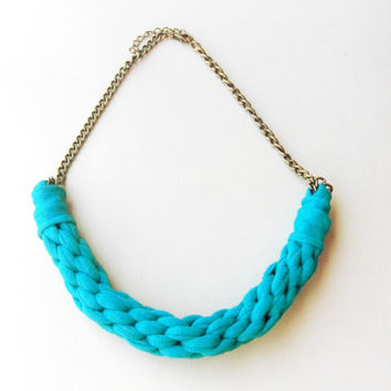 Tshirt Yarn Necklace, Cotton Necklace, Fiber Necklace, Kumihimo Necklace, Turquoise Necklace, Cotton Jewelry, Tshirt Yarn Jewelry.