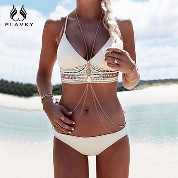 Women Sexy Bikini Set Push Up Swimsuit Print Fringe Bikini Beach Swimwear Women Bathing Suits