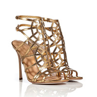 Sergio Rossi - Metallic Leather Cage Sandals