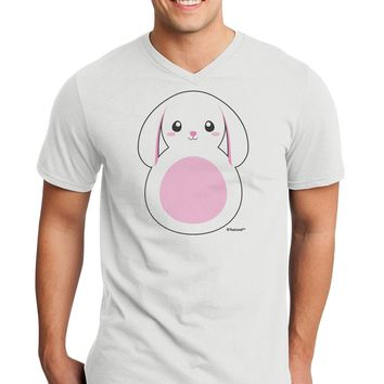 TooLoud Cute Bunny with Floppy Ears - Pink Adult V-Neck T-shirt