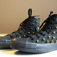 Gold Spiked Black Converse High-Tops Size Women's 6.5 - Free US Shipping