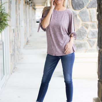 Cold Shoulder Ribbed Top in Dusty Mauve