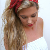 Rockabilly Headband Wired Dolly Bow PIN UP Fabric Headwrap Bandana
