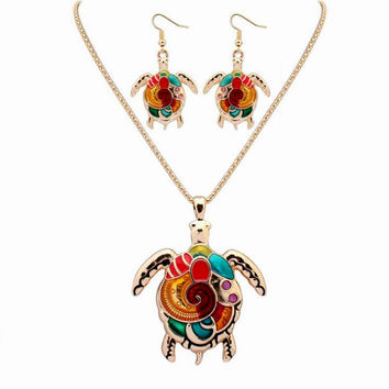 New animal pendant women necklace with earrings jewelry set collars
