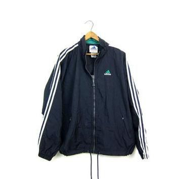 90s ADIDAS Pullover Jacket Sports Windbreaker Zip Up Sporty Workout Nylon Coat Black W