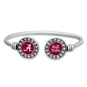 Alabama Crimson Tide Cuff Bracelet with Double Circle Logo and Chant | BAMA Cuff Bracelet | Alabama Cuff Bracelet
