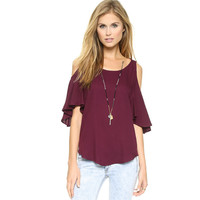 Loose Trumpet Sleeve Cold Shoulder Chiffon Shirt