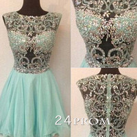 Round neck Rhinestone Short Homecoming Dresses, Prom Dress