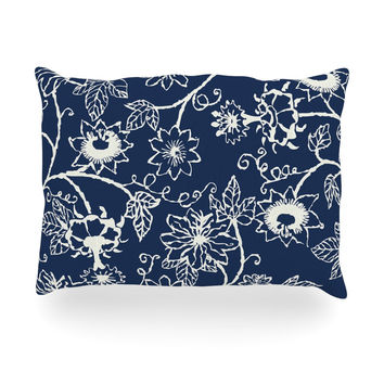 "Laura Nicholson ""Passion Flower"" Navy Floral Oblong Pillow"