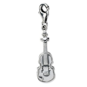 Sterling Silver 3-D Antiqued Violin w/Lobster Clasp Charm QCC669