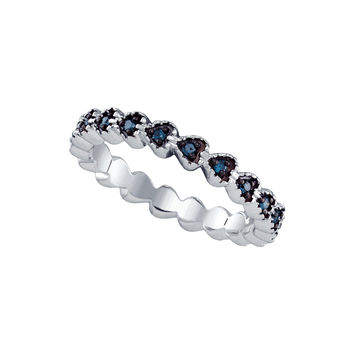 Sterling Silver Black Colored Diamond Heart Near-Eternity Wedding Anniversary Band Ring 1/5 Cttw 68313