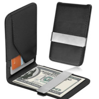 Men's Genuine Leather Silver Money Clip Slim Wallet