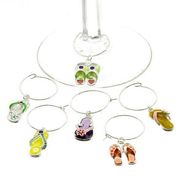 *[ETC]-Flip Flops Drinking Glass Charms- 6 Pack