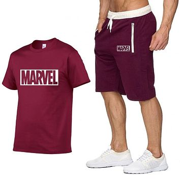 2019 cotton T Shirts+Shorts men sets Brand clothing Two pieces tracksuit Fashion Casual Tshirts Workout Fitness Sets S-XXL