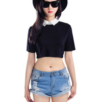 Black Crop Top With White Collar - Choies.com