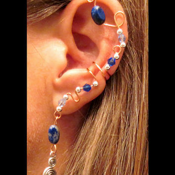 "Non Pierced ""Evenstar"" Stone and Swarovski Crystal Ear Wrap Cuff  Elven/Elfish/Elf"