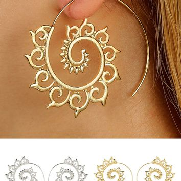 Atomic Spiral Spikes Hoop Earrings