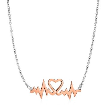 Two Toned Heartbeat Motif Necklace in Sterling Silver