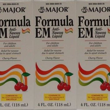 Formula EM Generic for Emetrol Nausea & Upset Stomach Relief Cherry Flavor 4 oz. Bottle Pack of 3 Total 12 oz.