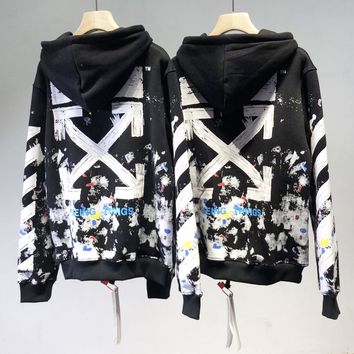 Off-white fashion casual men and women ink star hoodie and sweater