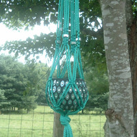 Macrame Plant Hanger. Turquoise cord with Stainless steel washers(hex jam nuts)