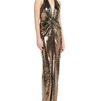 Women's Metallic Sequined V-Neck Halter Gown, Bronze - Halston Heritage - Bronze