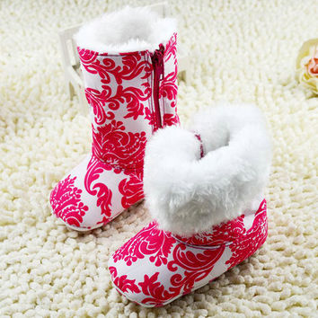 Fashion Warm Winter Baby Girls Ankle Snow Boots Infant Shoes Red Antiskid Shoes First Walkers