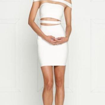 Seduced by the Night White Off The Shoulder Cut Out Bandage Bodycon Mini Dress - Inspired by Kylie Jenner
