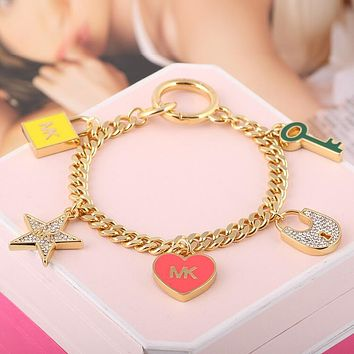 "MK ""MICHAEL KORS"" Trending Women Stylish Diamond Enamel Glaze Heart Key Star Lock Pendant Bracelet Hand Catenary I13033-1"