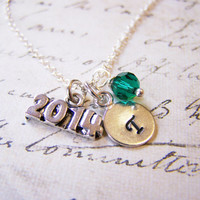2014 Graduation Diploma Hand Stamped Initial Swarovski Crystal Birthstone Sterling Silver Necklace / Gift for Her