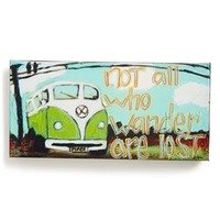 Creative Co-Op 'Not All Who Wander' Decorative Wall Art - Green