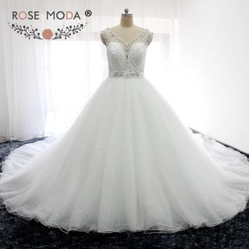 Rose Moda Gorgeous Sheer V Neck Heavily Crystal Puffy Princess Wedding Ball Gown 1M Royal Train Illusion Back Wedding Dress