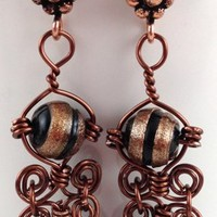 Black Copper Glass bead Handmade Wire Wrapped Earrings Copper Earhooks