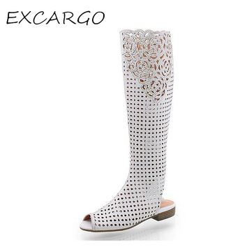 Big Size Vintage Carved Summer Women Knee High Boots Open Toe Fashion Hollow Woman Genuine Leather Boots White