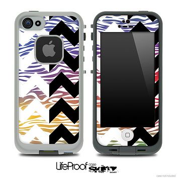 Color Zebra & Black/White Chevron Pattern Skin for the iPhone 5 or 4/4s LifeProof Case