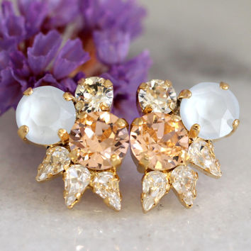 Bridal Cluster Earrings,Peach Powder Blue Earrings,Swarovski Cluster earrings,Pastel Earrings,Bridesmaids Earrings,Peach Bridal Earrings
