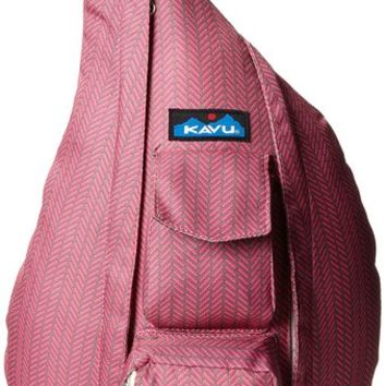 KAVU Rope Sling Bag, Pink Slash, One Size
