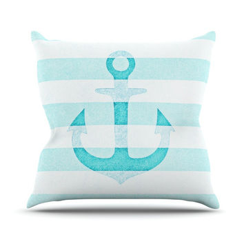 "Monika Strigel ""Stone Vintage Aqua Anchor"" Throw Pillow"