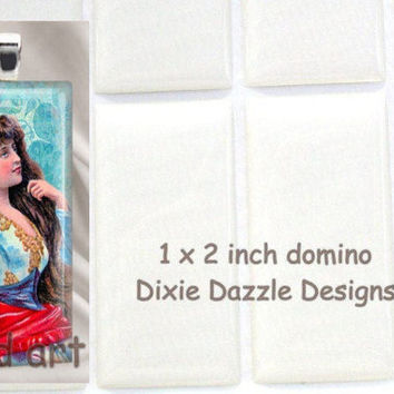 40 domino seals 1x2 inch (25x50mm) DOMINO size clear epoxy stickers, domed cover cabochon for pendant jewelry