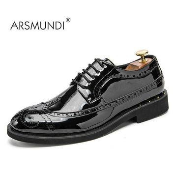 ARSMUNDI Original Men Brogue Shoes Fall 2017 Man's Brogue Shoes Genuine Leather Breathable Waterproof Mens Dress Shoes XRS-0618